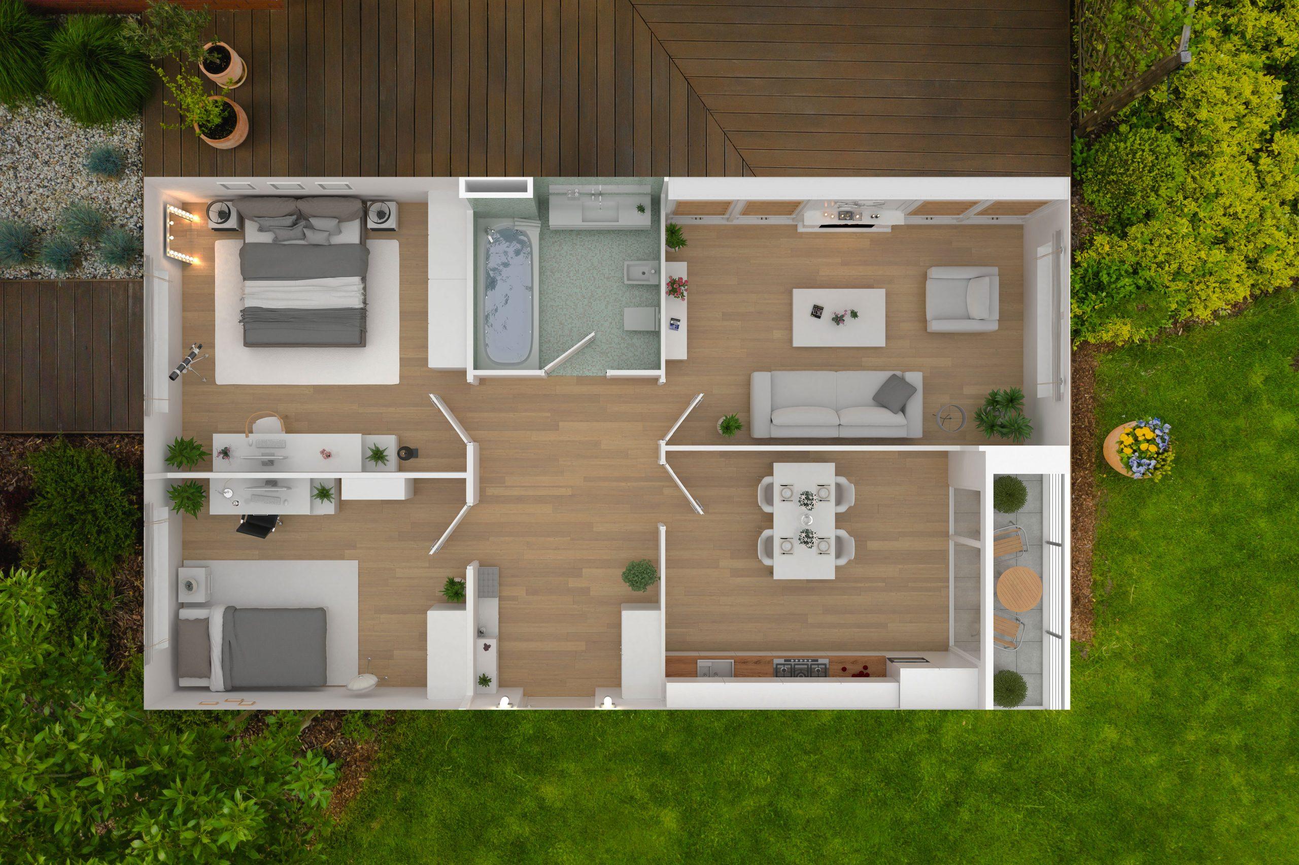 house birds eye view