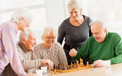 Old people playing chess